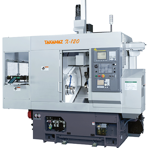 TAKAMAZ, X Series, X-120, Space saving, equipped with sub-spindle, bar workpiece turning, Automated Turning Center
