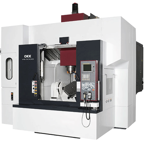 OKK, 5AX Series, VG5000, Highly Ridig 5-Axis Controlled Machining Center. 2APC for High Productivity, 5-Axis Machining Center