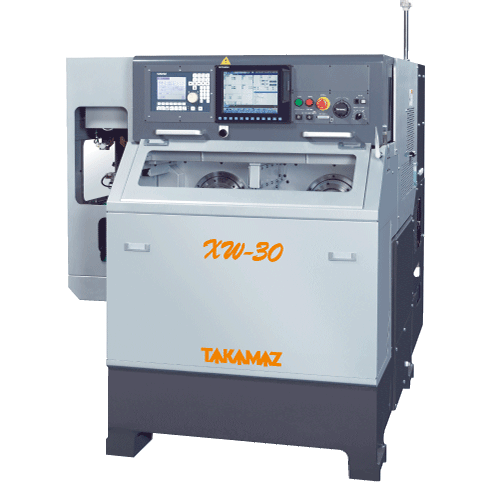 TAKAMAZ, XW Series, XW-30, High speed, high accuracy, compact body, Two spindle, Two slide, Two turret, Chuck Size 3, 4, 6, 8, 10, Gang type and Drum type, Automated Turning Center