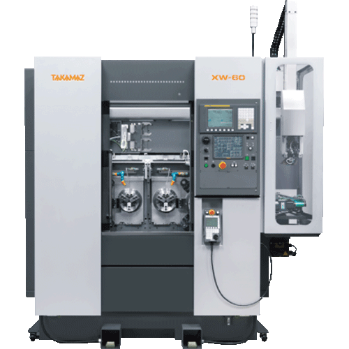 TAKAMAZ, XW Series, XW-60, High speed, high accuracy, compact body, Two spindle, Two slide, Two turret, Chuck Size 3, 4, 6, 8, 10, Gang type and Drum type, Automated Turning Center